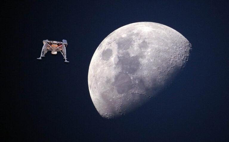 חללית בראשית על רקע הירח